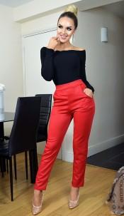 Tatianna Animal Print Trousers Red