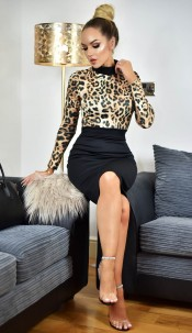 Maddie Animal Print Contrast Dress Brown