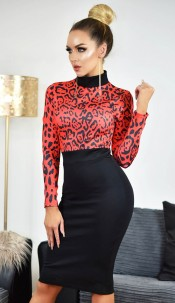 Maddie Animal Print Contrast Dress Red