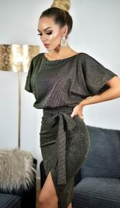 Phoebe Shimmer Wrap Dress Gold
