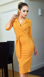 Nadia Collared Front Wrap Dress Mustard