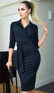 Nadia Collared Front Wrap Dress Black