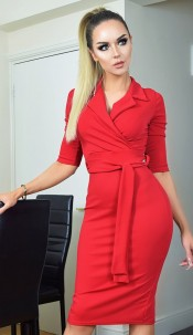 Nadia Collared Front Wrap Dress Red
