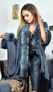 Carla Faux Fur Sleeved Cape Grey