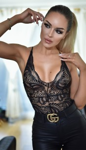 Taylor Lace Detail Bodysuit Black