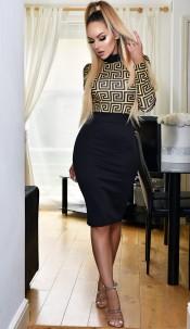 Tabitha Contrast Print Dress Mustard