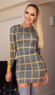 Karoline Long Sleeved Pattern Dress Mustard