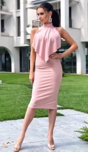 Violet Front Frill Dress Mauve