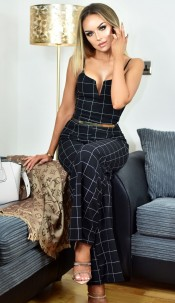 Leanne Grid Print Belted Jumpsuit Black