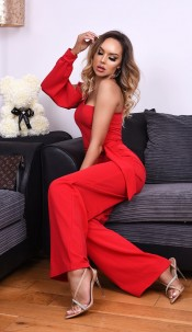 Danika One Shoulder Belted Jumpsuit Red