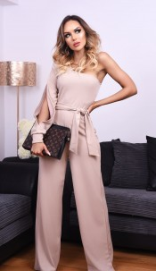 Danika One Shoulder Belted Jumpsuit Stone