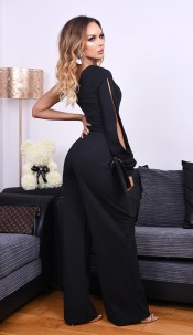 Danika One Shoulder Belted Jumpsuit Black