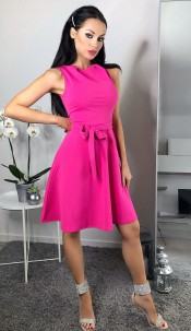 Mabel Ruched Skater Dress Hot Pink
