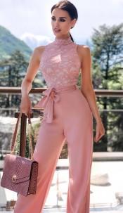 Eleanor High Neck Lace Jumpsuit Dusty Pink