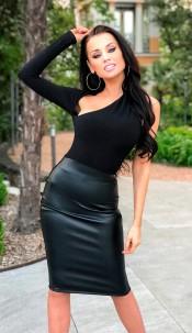 Zarah Cut Out PU Dress Black