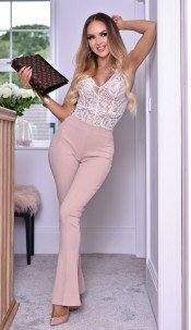 Kira Bandage Flared Trousers Stone