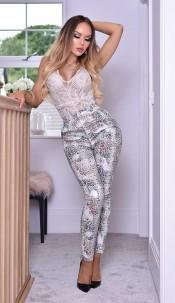 Lisa Snake Print Trousers Silver