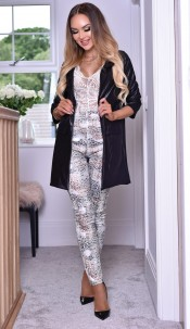 Erika Wet Look Longline Jacket Black