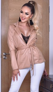 Elisha Shimmer Belted Jacket Camel