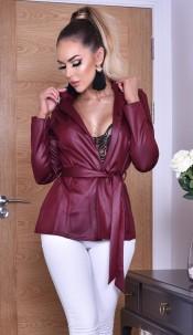 Elisha Shimmer Belted Jacket Wine