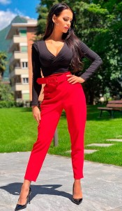 Demi Belted Cigarette Trousers Red