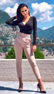 Demi Belted Cigarette Trousers Stone
