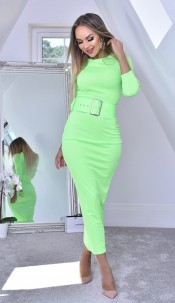 Eliana Belted Midaxi Dress Lime Green