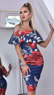 Savanna Floral Frill Overlay Bardot Dress Navy