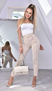 Nancy Belted Cigarette Trousers Stone