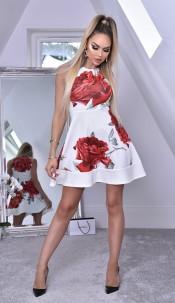 Felicia Floral Skater Dress Ivory