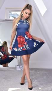 Felicia Floral Skater Dress Navy