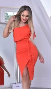 Celia One Shoulder Wrap Dress Orange