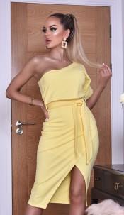 Celia One Shoulder Wrap Dress Yellow
