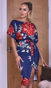 Delilah Floral Wrap Batwing Dress Navy