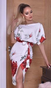 Delilah Floral Wrap Batwing Dress Ivory