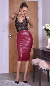 Kellie PU Midi Skirt Wine