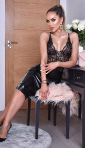 Kellie PU Midi Skirt Black