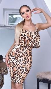 Shaya Frill Overlay Dress Animal