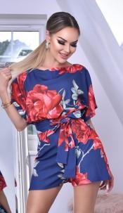 Natalia Floral Batwing Playsuit Navy