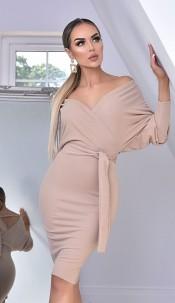 Michelle Batwing Wrap Dress Stone