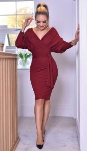Michelle Batwing Wrap Dress Wine