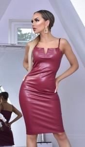 Nushia PU V Plunge Neck Bodycon Dress Wine
