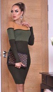 Jenna Colour Block Knitted dress Khaki