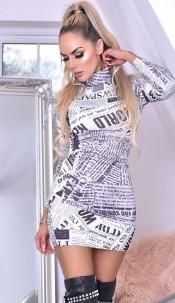 Myla High Neck Printed Mini Dress Ivory