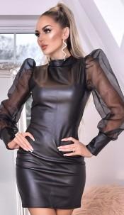 Avery Organza Puffed Sleeve Leatherette Dress Black