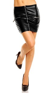 Leather-Look Skirt Black