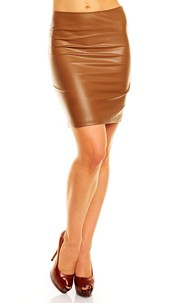Leather-Look Skirt Camel