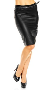 Leather-Look Skirt with belt Black