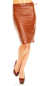 Leather-Look Skirt with belt Camel