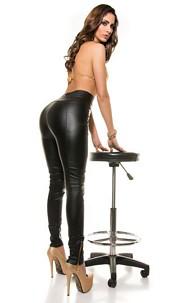 Sexy highwaist leatherlook pants with zips Black